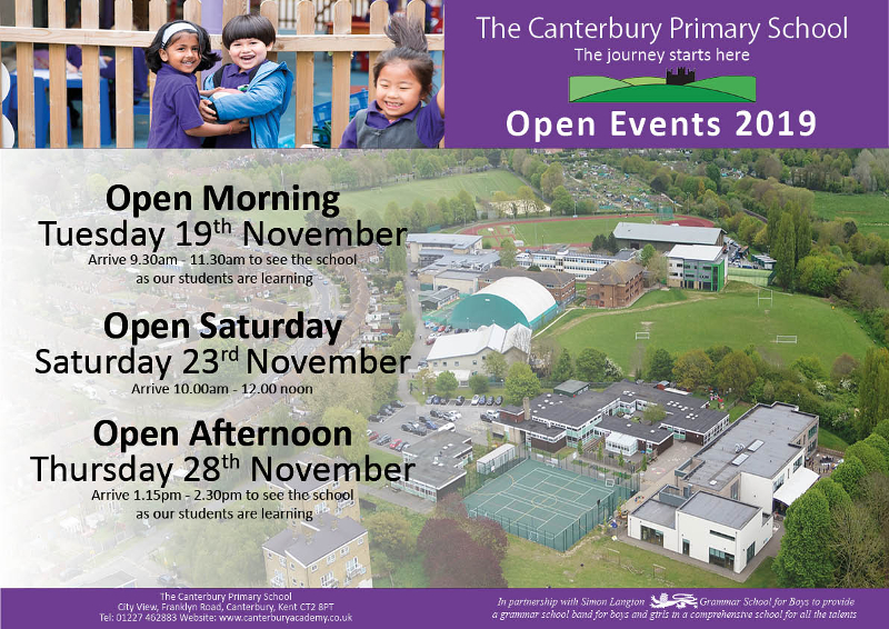 The Canterbury Primary School Open Events for admission to the school in September 2020.