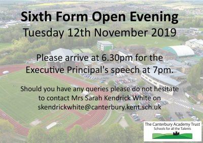 Canterbury Academy Sixth Form Open Evening - 12 November 2019