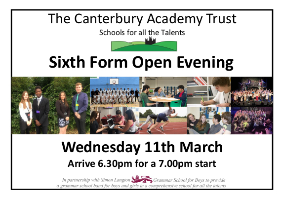 Sixth Form Open evening March 2020