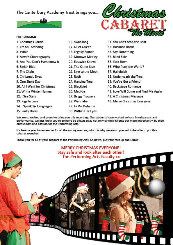 Christmas Caberet 2020 - The Movie Programme