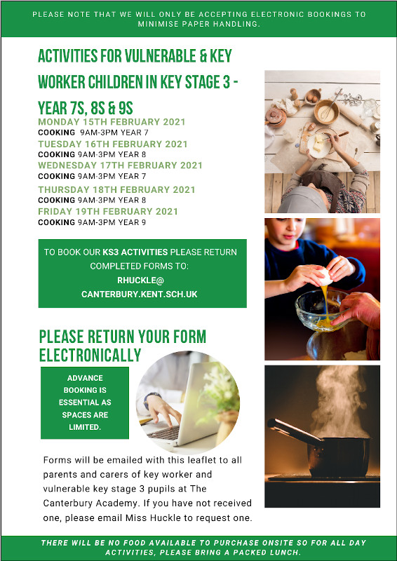 The Canterbury Academy Key Stage 3 Activities February Half Term 2021