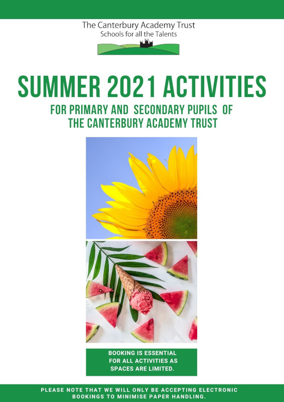 Summer 2021 Activities for Primary and Secondary pupils  of The Canterbury Academy Trust front cover