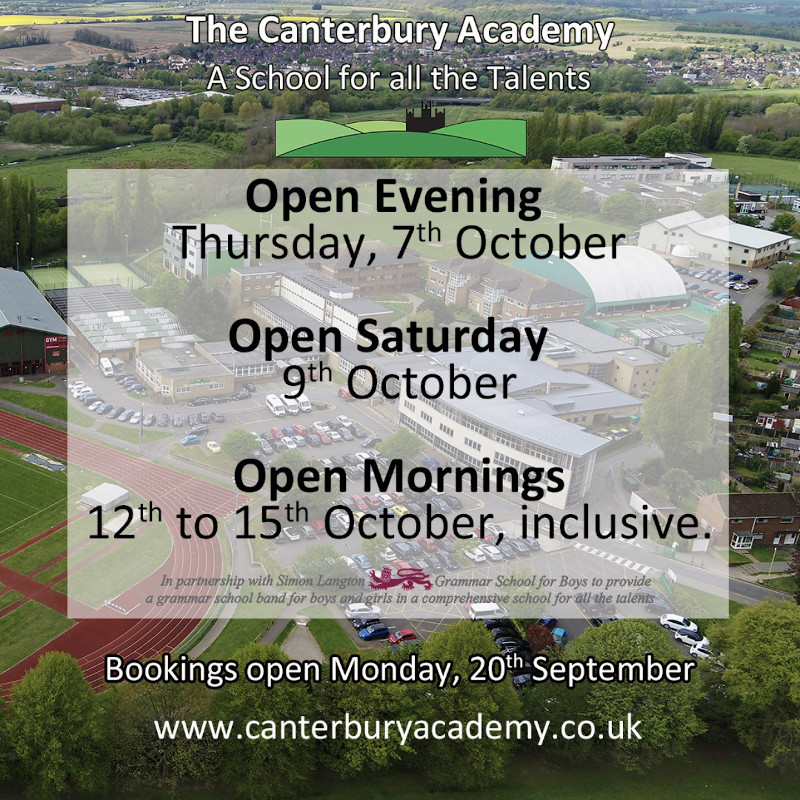 Open Events for Admission to Year 7 September 2022